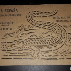 Postales: RARA TARJETA PUBLICITARIA CALADA ORIGINAL FÁBRICA CHOCOLATES LA ESPAÑA MADRID. Lote 180417717