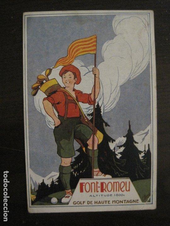 FONT ROMEU-POSTAL PUBLICITARIA DE GOLF-VER FOTOS-(63.723) (Postales - Postales Temáticas - Publicitarias)