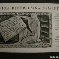 Cartes Postales: UNION REPUBLICANA FEMENINA-CLARA CAMPOAMOR-POSTAL ANTIGUA-VER FOTOS-(63.804). Lote 182395583