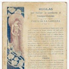 Postales: POSTAL ILUSTRADA EN CATALAN REGLAS PER BALLAR LA SARDANA Y L'AMPURDANESA ,ANTIGUA P862. Lote 183727021