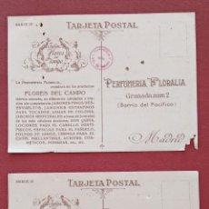 Postales: PAREJA TARJETA POSTAL. PERFUMERIA FLORALIA. JABON FLORES DEL CAMPO. MADRID. SIN ESCRIBIR. Lote 183984883