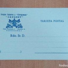 Postales: TARJETA POSTAL TRAJES TALARES Y CLERGYMAN JAULENT, BARCELONA. SIN USO. Lote 184770950