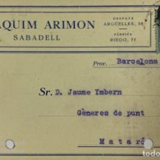 Postales: TARJETA POSTAL. JOAQUÍN ARIMON. SABADELL, 1927. VER FOTOS. Lote 185685092