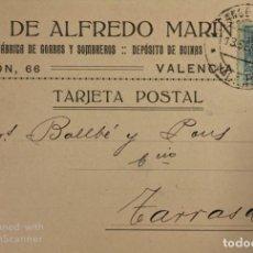 Postales: TARJETA POSTAL. HERMANO DE ALFREDO MARIN. FABRICA DE GORROS Y SOMBREROS. VALENCIA, 1924. VER FOTOS. Lote 185686321