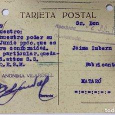 Postales: TARJETA POSTAL. FABRICA DE GENEROS DE PUNTOS. SOCIEDAD ANONIMA VILARDELL. BARCELONA, 1929. VER FOTOS. Lote 185687328