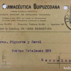 Postales: TARJETA POSTAL. UNION FARMACEUTICA GUIPUZCOANA. SAN SEBASTIAN, 1930. VER FOTOS.. Lote 185693388