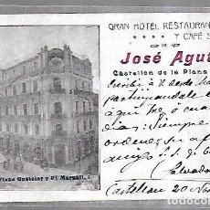 Postales: TARJETA POSTAL. PUBLICITARIA. JOSE AGUT. GRAN HOTEL RESTAURANT Y CAFE SUIZO. CASTELLON DE LA PLANA. Lote 185783476