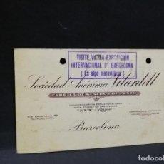 Postales: TARJETA POSTAL PUBLICITARIA. FABRICA DE GENEROS DE PUNTO. S. A. VILARDELL. BARCELONA.. Lote 186922110
