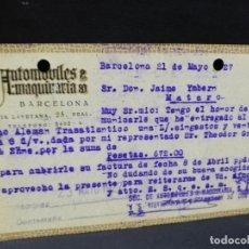 Postales: TARJETA POSTAL PUBLICITARIA. AUTOMOVILES & MAQUINARIAS. BARCELONA.. Lote 187149508