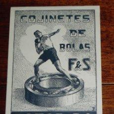 Postales: POSTAL COJINETES DE BOLAS F&S, ROTOR S.A. BARCELONA, NO CIRCULADA, REVERSO SIN DIVIDIR.. Lote 188463060