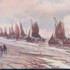 Postales: POSTAL EDITION DE LA CHOCOLATERIE D'AIGUEBELLE - MAR - BARCOS DE VELA - PESCADORES. Lote 188537760