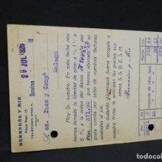 Postales: TARJETA POSTAL PUBLICITARIA. BERNADAS Y MIR.. Lote 188654120