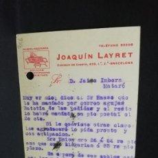 Postales: TARJETA POSTAL PUBLICITARIA. JOAQUIN LAYRET.. Lote 188654210