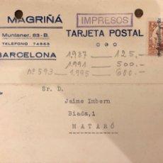 Postales: BARCELONA. J. MAGRIÑA. 1932 VER DORSO.. Lote 189081762