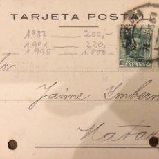 Postales: BARCELONA. PALAU & VENDRELL. 1925. VER DORSO.. Lote 189082022