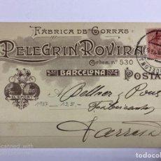 Postales: TARJETA POSTAL PUBLICITARIA.FABRICA DE GORRAS. PELEGRIN ROVIRA. BARCELONA, 1987.. Lote 190221687