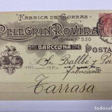 Postales: TARJETA POSTAL PUBLICITARIA.FABRICA DE GORRAS. PELEGRIN ROVIRA. BARCELONA, 1987.. Lote 190221908