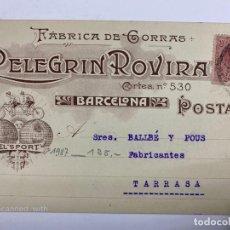 Postales: TARJETA POSTAL PUBLICITARIA.FABRICA DE GORRAS. PELEGRIN ROVIRA. BARCELONA, 1987.. Lote 190221935