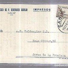 Postales: TARJETA POSTAL. PUBLICITARIA. FRANCISCO DE P.BERENGUER AGUILAR. CADIZ. VAPOR J.H.FISSER. 1953. VER. Lote 190410051