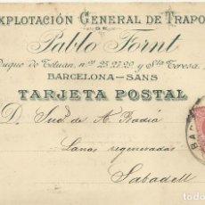 Postales: PABLO FORNT. TRAPOS. BARCELONA. 1907. A A. BADIA. SABADELL. TARJETA POSTAL. . Lote 190539326