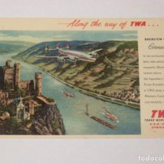 Postales: TWA, TRANS WORLD AIRLINES . GERMANY , RHEINSTEIN CASTLE, ALONG THE WAY OF TWA.. Lote 190540360