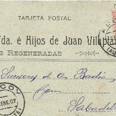 Postales: VDA E HIJOS DE JUAN VILAPLANA. LANAS REGENERADAS. ALCOY. 1907. A A. BADIA. SABADELL. TARJETA POSTAL.. Lote 190547238