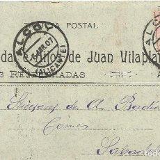 Postales: VDA E HIJOS DE JUAN VILAPLANA. LANAS REGENERADAS. ALCOY. 1907. A A. BADIA. SABADELL. TARJETA POSTAL.. Lote 190547358