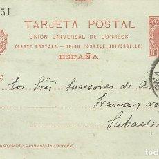 Postales: C.311451. TORRAS Y COMPAÑÍA. BARCELONA. 1906. A A. BADIA. SABADELL. TARJETA POSTAL.. Lote 190548618