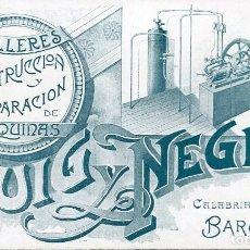 Postales: TARJETA-BARCELONA-PUIG Y NEGRE-TALLER CONSTRUCCIÓN MAQUINARIA-MODERNISTA. Lote 191290041