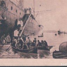 Postales: POSTAL PUBLICIDAD BORINES AGUA DE MESA - EL VIATICO A BORDO - J MARTINEZ ABADES - M MODERNO - BARCO. Lote 192364116