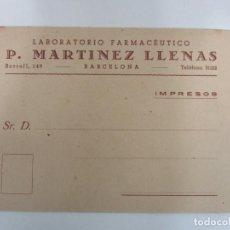 Postales: PUBLICIDAD - IMPRESOS - LABORATORIO FARMACÉUTICO P. MARTINEZ LLENAS - PRECIOS - AÑOS 40. Lote 192908660