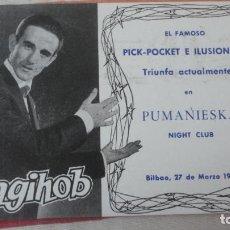 Postales: POSTAL.PICK-POCKET.ILUSIONISTA.MAGIA.SAGIHOB.EMILIO BOHIGAS.PUMANIESKA NIGHT CLUB.BILBAO 1962. Lote 192933006