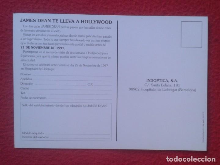 Postales: POSTAL PUBLICITARIA 1997 GAFAS INDOPTICA JAMES DEAN ACTOR DE CINE HOLLYWOOD THE LEGEND ADVERTISING.. - Foto 2 - 193730203