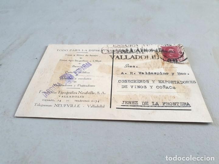 POSTAL PUBLICITARIA ANTIGUA VALLADOLID. FUNDICIÓN TIPOGRÁFICA NEUFVILLE. CIRCULADA EL 15/03/1939. (Postales - Postales Temáticas - Publicitarias)