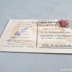 Postales: POSTAL PUBLICITARIA ANTIGUA VALLADOLID. FUNDICIÓN TIPOGRÁFICA NEUFVILLE. CIRCULADA EL 15/03/1939.. Lote 193741110