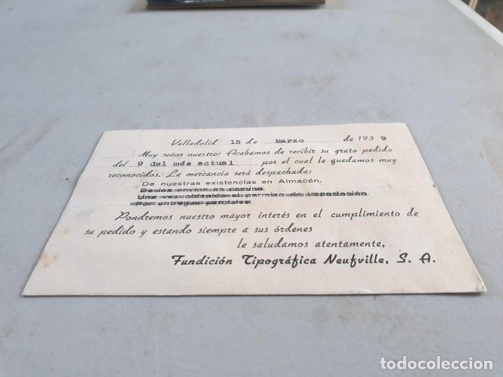 Postales: Postal publicitaria antigua Valladolid. Fundición Tipográfica Neufville. Circulada el 15/03/1939. - Foto 2 - 193741110