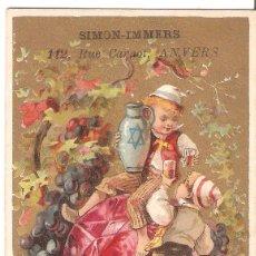 Postales: TARJETA PUBLICITARIA, FLEURS ET PLUMES PARA CONFECCIÓN, SIMON-IMMERS, BELGICA. Lote 194230872