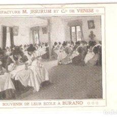 Postales: POSTAL PUBLICITARIA, MANUFACTURE M.JESURUM ET CIE.VENISE, BURANO, SIN CIRCULAR. Lote 194523626