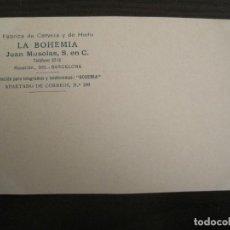 Postales: FABRICA DE CERVEZA Y HIELO-LA BOHEMIA-JUAN MUSOLAS-POSTAL PUBLICIDAD ANTIGUA-VER FOTOS-(67.902). Lote 194729483