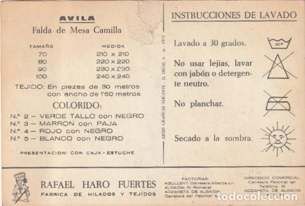 POSTAL PUBLICIDAD RAFAEL HARO FUERTES - FABRICA DE TEJIDOS FACTORIA Y COMERCIAL ADZANETA ALBAIDA -R5 (Postales - Postales Temáticas - Publicitarias)