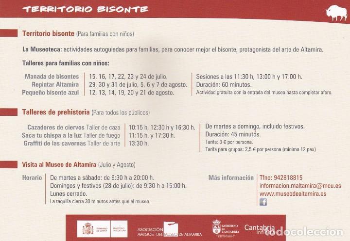 Postales: POSTAL MUSEO DE ALTAMIRA. CANTABRIA - HORARIOS JULIO Y AGOSTO 2010 - Foto 2 - 194902003
