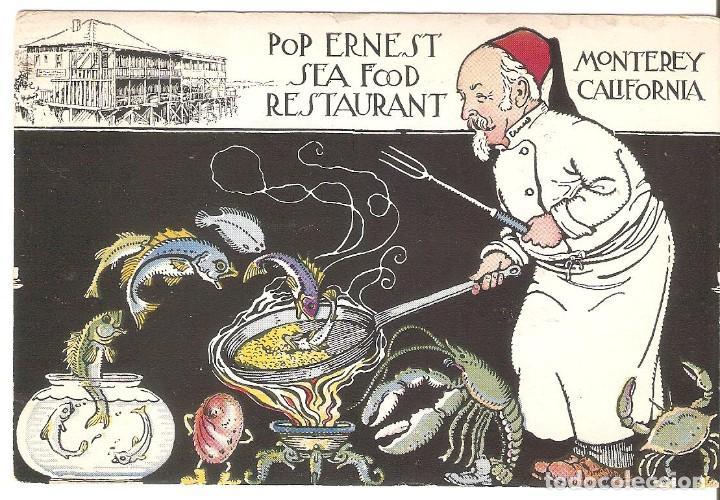 POSTAL PUBLICITARIA, POP ERNEST SEA FOOD RESTAURANT, MONTERREY-CALIFORNIA,CIRCULADA CON SU SELLO (Postales - Postales Temáticas - Publicitarias)