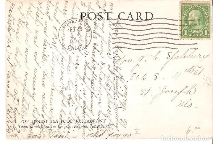 Postales: POSTAL PUBLICITARIA, POP ERNEST SEA FOOD RESTAURANT, MONTERREY-CALIFORNIA,CIRCULADA CON SU SELLO - Foto 2 - 195044653