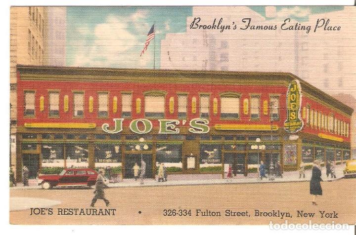 POSTAL PUBLICITARIA, JOE'SM RESTAURANT, BROOKLYN, NEW YORK,CIRCULADA CON SU SELLO (Postales - Postales Temáticas - Publicitarias)
