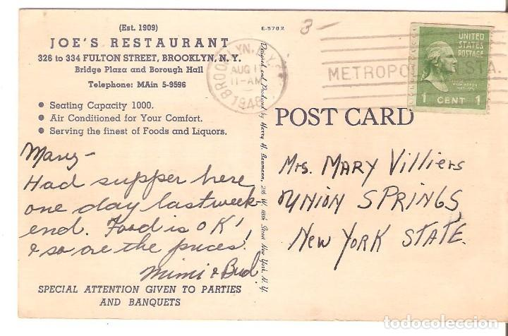 Postales: POSTAL PUBLICITARIA, JOESM RESTAURANT, BROOKLYN, NEW YORK,CIRCULADA CON SU SELLO - Foto 2 - 195045176