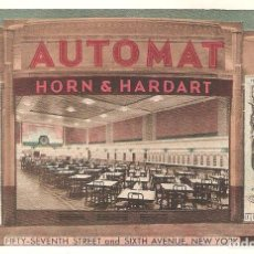 Postales: POSTAL PUBLICITARIA, AUTOMAT, HORN&HARDART. PIES AND HOT COFFEE, NEW YORK, SIN CIRCULAR. Lote 195045413