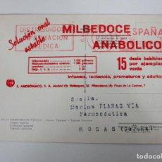 Postales: TARJETA PUBLICITARIA MILBEDOCE ANABOLICO - FARMACIA, MEDICO - PRODUCTOS MEDICINALES. Lote 195158608