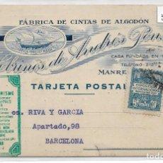 Postales: MANRESA - SOBRINOS DE ANDRÉS PONS - FÁBRICA DE CINTAS DE ALGODÓN - P30065. Lote 195214335