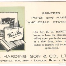 Postales: POSTAL PUBLICITARIA, PAPELES IMPRESOS T.HARDING,SON, LONDON ROAD, BATH, SELLADA SIN CIRCULAR. Lote 195230998