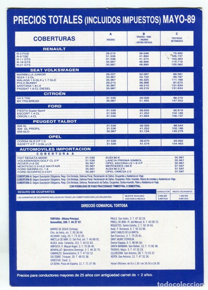 Postales: MAPFRE TORTOSA Y DELEGACIONES COMARCALES POSTAL PUBLICITARIA MAYO DE 1989 VER REVERSO - Foto 2 - 195346117